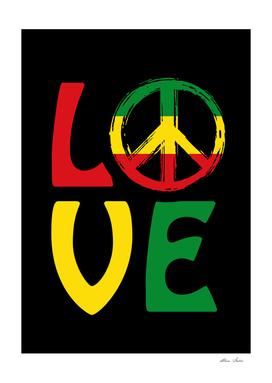 LOVE, Reggae design with peace symbol