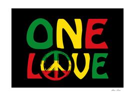 One Love, reggae art with reggae colors