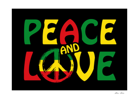 Peace and Love with reggae colors and peace sign