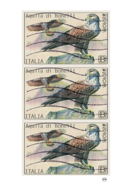 Flying eagle italian post stamps collage