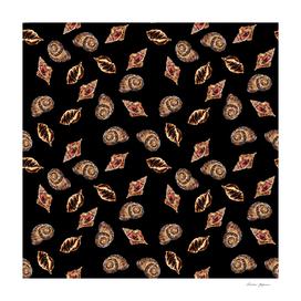 Bronze and Black Sea Shells Pattern