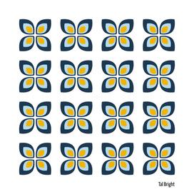 Retro vintage floral pattern (yellow blue)