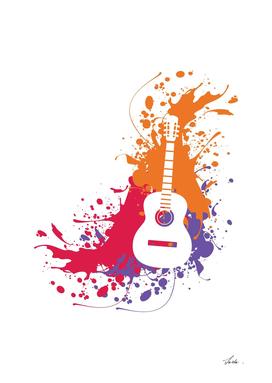 acoustic guitar splatter art