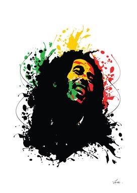 Bob Marley splatter art