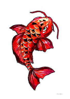 Red Koi Carp Fish Tattoo