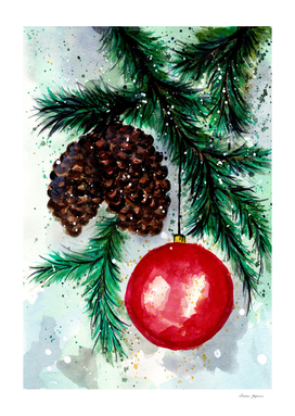 Pine Cone and Christmas Ornament small