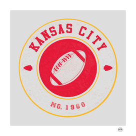 Kansas city football vintage logo white