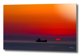 Sunset over the Ocean in Red