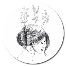Hand Drawn Flower Girl
