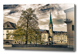 Zurich switzerland old town scenery with tree and clocktower