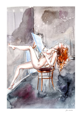 Redhead nude girl artist