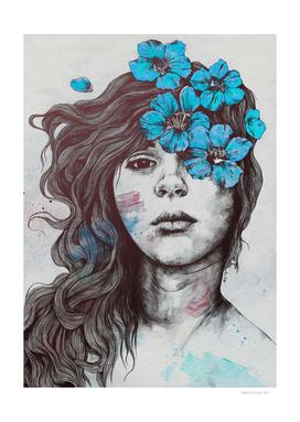 Softly Spoken Agony blue | flower girl pencil portrait