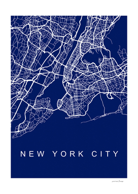 NYC Streets Blue Map