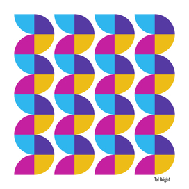 Vintage abstract geometric art - Purple yellow pink