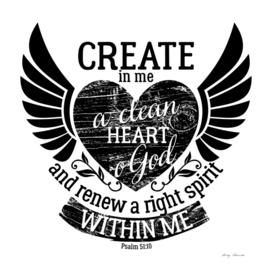Christian print. Create in me a clean heart o God