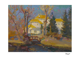 Houses with yellow roofs