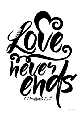 Christian print. Love never ends.