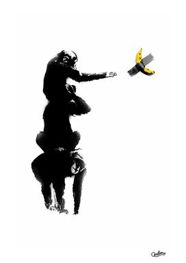 Chimpanzee and Banana Taped