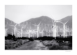 wind turbine and desert scenery in black and white