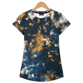 Gold and Navy Tie Dye Clouds