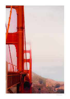 Closeup Golden Gate bridge with foggy sky San Francisco USA