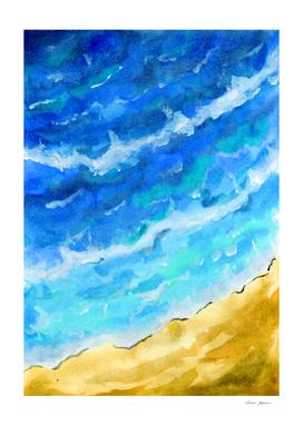Beach Aerial Watercolor