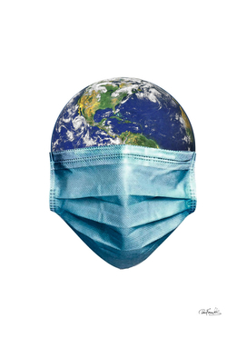 Earth With Face Mask Pandemic Concept Poster