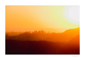 summer sunset with mountain layer in Los Angeles California