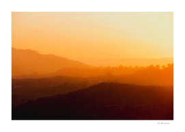 sunset with mountain layer in Los Angeles California USA