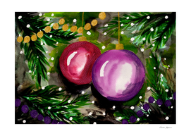 Colorful Christmas Ornaments on a Tree