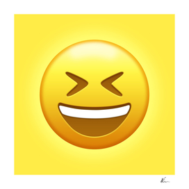 Grinning Squinting Face Emoji   Pop Art
