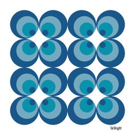 60s 70s funky retro pattern - blue