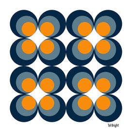 60s 70s funky retro pattern orange blue