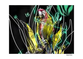 Parrot Bird Animal retro style colored