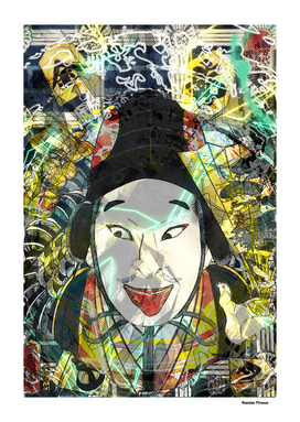 Japan Art Print colored samurai face
