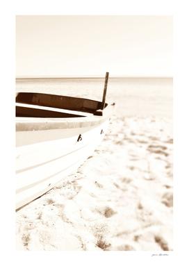 Minimalist coastal beach boat nautical