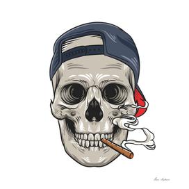 skull with cigar