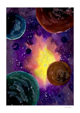 Colorful Space and Planets