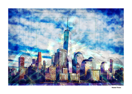 New York World Trade Center - Colored Street Art