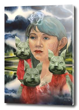Japanese Woman with her Inari Kitsune
