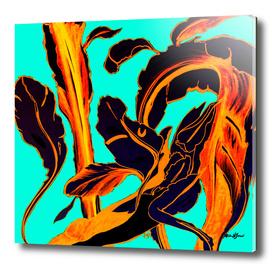 Blue Succulent fire teal