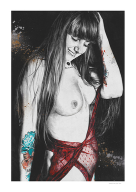 Marta I | smiling nude girl erotic drawing