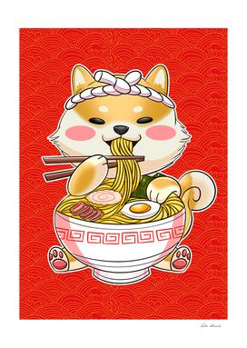 Shiba inu eating ramen
