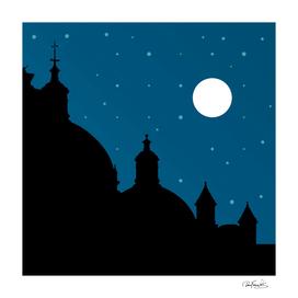 Silhouette Night Scene Cityscape Illustration