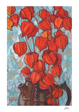 Chinese Lanterns, Autumn Floral, Pastel Painting