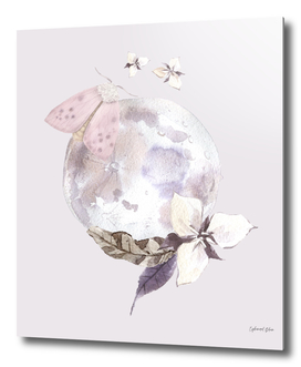 A flower and the moon