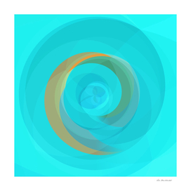 spiral line geometric art abstract background in blue yellow