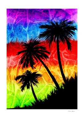Rainbow Palm Trees Silhouettes