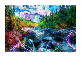 Yellowstone Forest River Nature Colored Neon