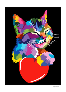 Cute Cat Gift for kitten lovers Colorful Art Kitty Adoption